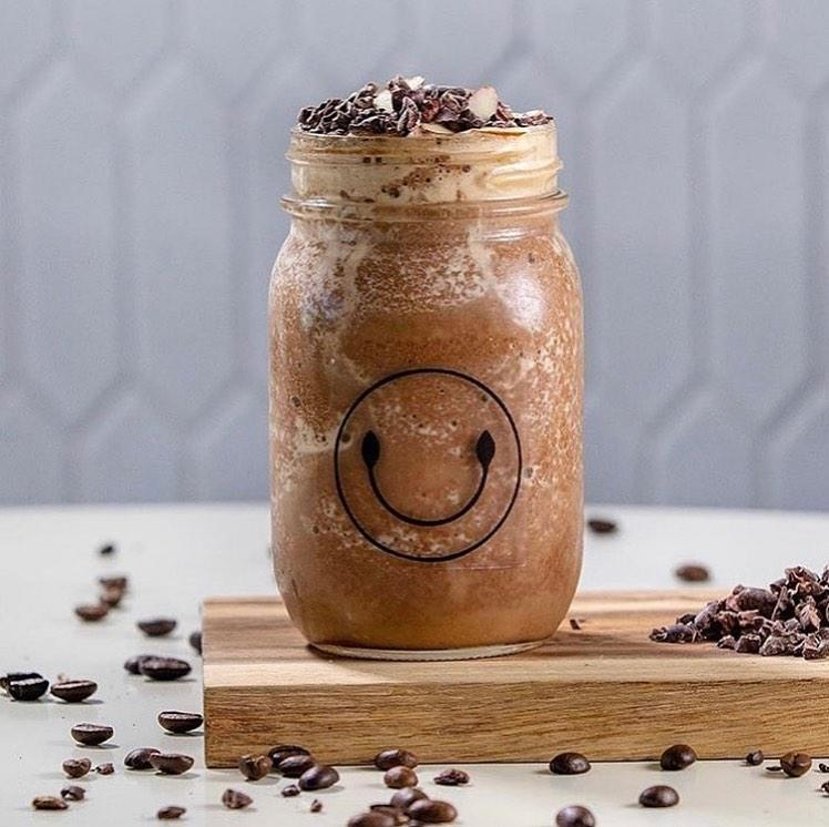 Coffee Nuts Smoothie (Full Almonds, Banana, Fresh Cacao, Almond Butter, Choice Of Protein & Double Shot Of Espresso )